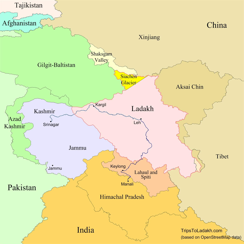 Map Of Ladakh Trips to Ladakh   Ladakh maps Map Of Ladakh
